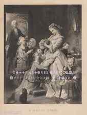 A Happy Home-Love-Family-Children-Parents-Baby-1888 ANTIQUE VINTAGE ART PRINT