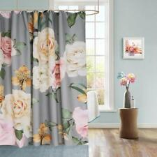 Gray Floral Shabby Chic Farmhouse Fabric Shower Curtain High Quality Functional