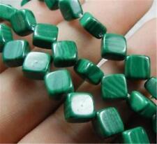 "8mm Green Malachite Rhombus Cushion Loose Beads 15"""