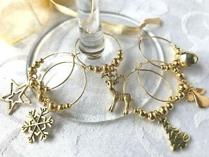 Christmas Wine Glass Charms 6-10 Gold tone Festive Table Decorations Markers
