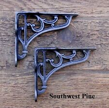 Classic Pair Of Small Victorian Scroll Antique Style Cast Iron Shelf Brackets 4""