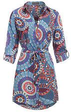 NEW WOMENS LADIES SHIRT DRESS LONG SLEEVE TIE BELT BLOUSE TOP Size 8 10 12 14 16