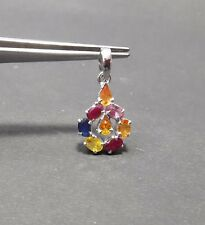HANDMADE NATURAL SAPPHIRE RUBY PENDANT 925 STERLING SILVER RED BLUE PINK ORANGE
