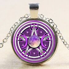 Glass Cabochon PURPLE CELTIC MOON  PENTACLE PENTAGRAM Pendant Necklace UK Seller