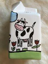 Glass Milk / Creamer Carton Vase By Ganz - Cows And Flower