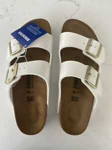 Birkenstock Arizona Narrow Shoes Women's Birko-Flor Patent White Size 39 UK6 NEW