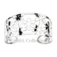 Gorgeous FAMA Flower Pattern Cuff Bangle Stainless Steel Bracelet