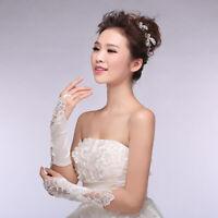 Fashion Bride Wedding Bridal Party Dress Long Fingerless Bead Lace Gloves G