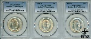 Lot of 3: 1948-PDS Booker T. Washington 50c Silver Half Dollar Coins PCGS MS65