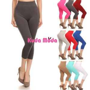 Women's Solid Color Seamless Wide Waistband Capri Leggings
