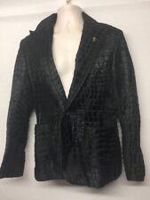 Mafia Wher Men's Slim-Fit Leopard  Leather Animal Print Black Men's Jacket IT 50