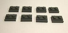 8 x LEGO® 32028 Platte 1x2 mit Führung Schiene neudunkelgrau Neuware.