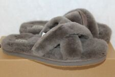 NEW Authentic UGG Womens Abela Soft Fluffy Slide Slippers Shoes Gray