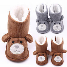 Toddler Baby Girl Boy Fleece Shoes Snow Boots Winter Warm Soft Sole Knit Booties