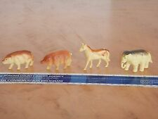 """LOT OF 4 SMALL ANTIQUE CELLULOID ANIMALS - TOY 2.25""""  ELEPHANT, HORSE, PIG"""