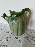 Art Nouveau, Belgium,Pottery Pitcher Wasmuel Majolica, Drip Glaze Brown & Green