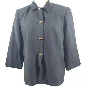 Talbots Blazer Jacket Silk Linen blend size 14 wood button