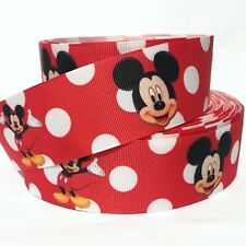 "Grosgrain Ribbon 5/8"", 7/8"", 1.5"", 3"" Mickey Mouse White dots Red Printed M1M"