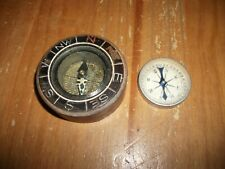 Lot of (2) Old Vintage Compass's ~ (1) Wood / (1) Aluminum Japan
