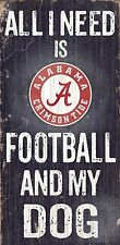 "ALABAMA CRIMSON TIDE FOOTBALL and my DOG WOOD SIGN & ROPE 12"" X 6""  MAN CAVE!"