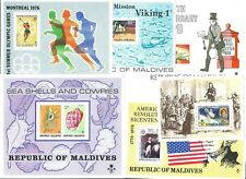 MALDIVES 6 Thematic Miniature Sheets form the 1970's MNH