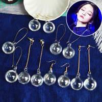 Novelty Women Clear Glass Ball Liquid Dangle Drop Pendant Ear Stud Hook Earrings