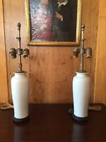 Pair of Antique Blanc de Chine Lamps with Carved Coral Pulls Turn of the Century