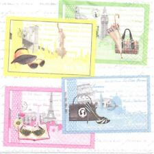 2 Serviettes en papier Voyages Paris Londres Rome New-York Paper Napkins Trip