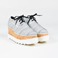 Stella McCartney NIB Black White Woven Cork Platform Elyse Oxford Loafers SZ 40