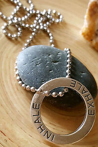 "Inhale Exhale Silver Open Circle Medallion Pendant Necklace 16"""