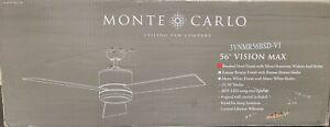 "Monte Carlo 3VNMR56BSD Vision Max 56"" Brushed Steel Silver Blades Ceiling Fan"