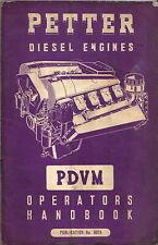 Petter Diesel Engines PDVM Original Operators Handbook + Parts List 1960 No 8024