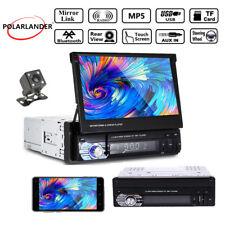 7'' HD Video 1 Din Car Stereo Radio Bluetooth Touch USB/SD/AUX/EQ/FM 12V +Camera