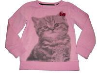 C & A tolles Sweatshirt / Pullover Gr. 122 rosa mit Katzen Motiv !!