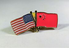 New listing Usa America China Flags Trucker Hat Pin Lapel Tie Clip National Peace Friends