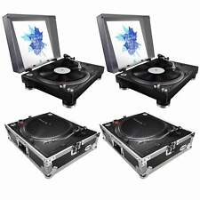 (2) Pioneer PLX-500 High-torque Direct Drive Turntables (black) with ProX Cases