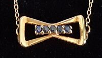 9 carat solid gold & sapphire vintage Art Deco antique pendant necklace