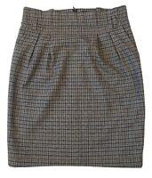 SET Women's Grey Houndstooth Fleece Wool Blend Skirt Size UK 12 by SET-FASHION