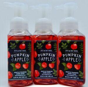 3 BATH & BODY WORKS PUMPKIN APPLE GENTLE FOAMING HAND SOAP 8.75 oz NEW