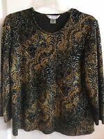 Allison Daley Petite Small Blouse Yellow Gold Black Top
