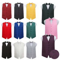 Mens Waistcoat Bow Tie Set Woven Floral Paisley Formal FREE Pocket Square by DQT