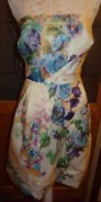 RED HERRING SPECIAL ED IVORY PRINT LINED CHIFFON STRAPPY/STRAPLESS DRESS 16 NWOT