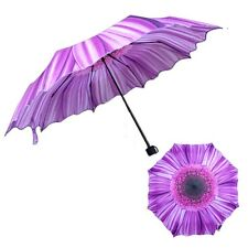 35+ Anti-UV Sun Rain Protection Windproof Flower Parasols 3 Folding Umbrella HOT