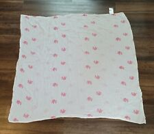 """Aden + Anais Baby Girl Cotton Muslin Swaddle Blanket Pink White Elephant 44""""x45"""""""