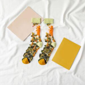 Women Girls Mid Tube Glass Yarn Socks Ultrathin Boho Flower Casual Crew Socks