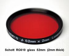 Schott RG610 52mm x 2mm thick Infrared Longpass Filter, Color IR Photography