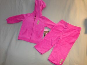 NEW JUICY COUTURE 24 MONTHS INFANT VELOUR TRACK SUIT PINK NEON GREEN RASBERRY