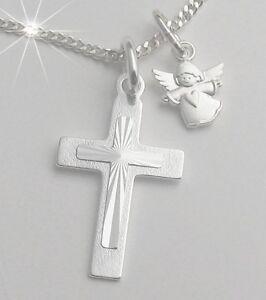 Kreuz Anhänger Schutz Engel mit Kette Silber Kommunion Konfirmation Kinder neu