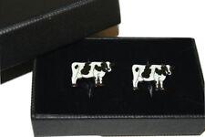 Cow Cufflinks Gift Boxed Enamel Mens accessory wedding groom farm animal Shirt