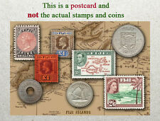 Postcard: Fiji  Stamps and coins of Yester Years